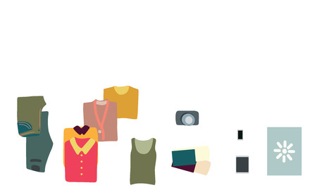 Vector illustration top view luggage. Flat lay concept. Open packed suitcase. Advertising, poster, banner and web design.