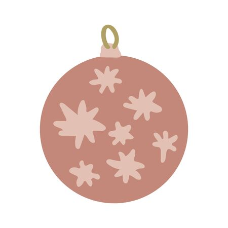 Hand drawn dusty pink ball with  pale pink decor Christmas tree toys color illustration. Hand drawn clipart. Flat style illustration. Greeting card, poster, design element.