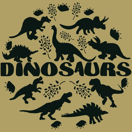 Black silhouette dinosaurs round flat hand drawn composition. Hand written lettering dinosaurs. Circle border with dinosaurs for text. Greeting card, poster design element.