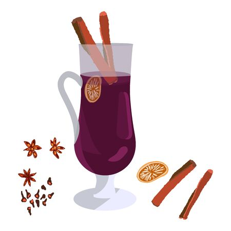 Tall glass with mulled wine. Holiday composition with decorations. Flat style illustration. Festive greeting card, banner, poster sketch design.