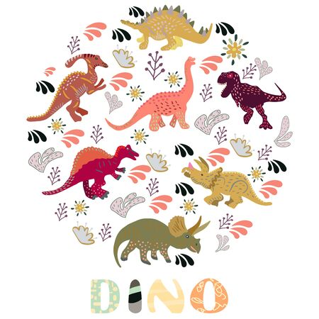 Circle shape with dinosaurs and hand lettering dino on white background. Greeting card, poster design element.  Vectores