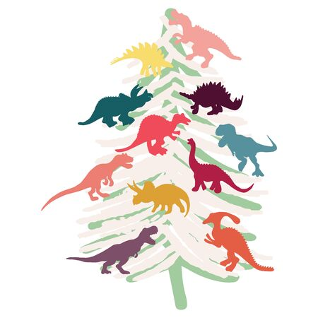 White Christmas tree decorated with dinosaurs. Cute isolated dinosaur cartoon character illustration. T shirt, poster, greeting card design elements. Vektorgrafik