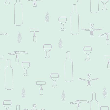 Corkscrews and wine bottles purple silhouette on light blue background seamless pattern. illustration. Archivio Fotografico - 127402914