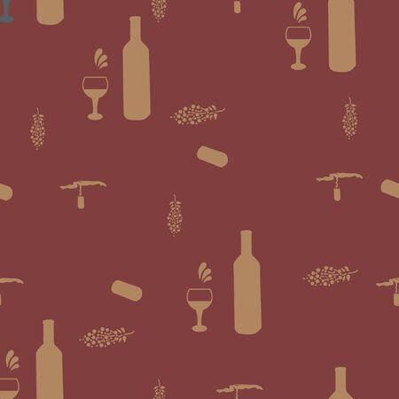 Corkscrews and wine bottles beige silhouette on brown background seamless pattern. Illustration Archivio Fotografico - 127402916