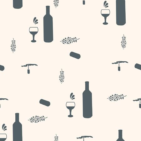 Wine bottles and wine glasses black silhouette on beige background seamless pattern. illustration.