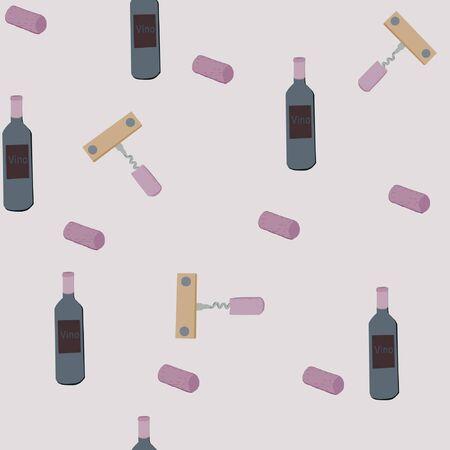 Corkscrews and wine bottles on light blue background seamless pattern.  illustration. Archivio Fotografico - 127402932