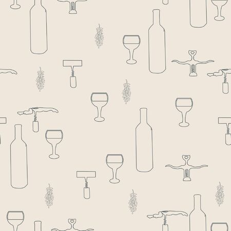 Wine bottles and wine glasses black silhouette on pink background seamless pattern. illustration. Archivio Fotografico - 127402939