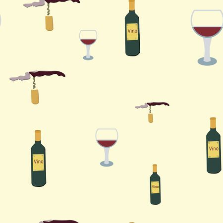 Wine bottles, glasses and corkscrews on beige background seamless pattern. illustration. Archivio Fotografico - 127402943