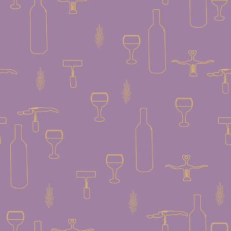 Corkscrews and wine bottles yellow silhouette on purple background seamless pattern.  illustration.