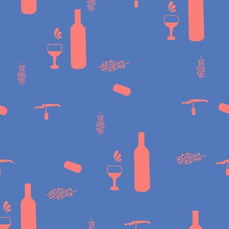 Corkscrews and wine bottles pink silhouette on blue background seamless pattern. illustration. Archivio Fotografico - 127403018