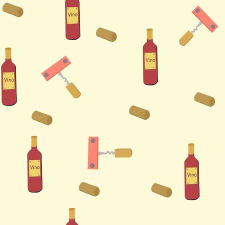 Hand drawn corkscrews and wine bottles on cream colour background seamless pattern.  illustration. Archivio Fotografico - 127403024
