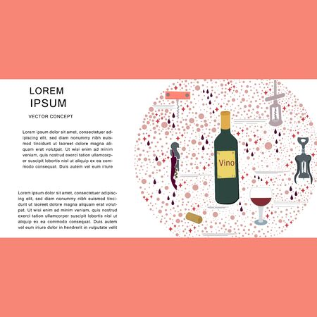 Template with corkscrew, wine bottle round composition for copy space. Poster, banner, print design element. illustration. Archivio Fotografico - 127403029