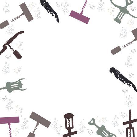 Corkscrews silhouette border for text on white background. Poster, banner, print design element. illustration.