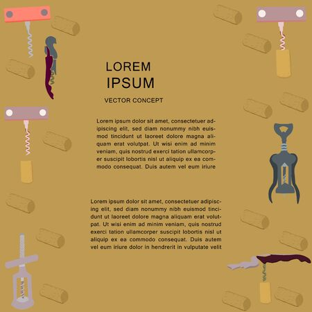 Hand drawn bottle openers and corkscrews template for copy spacce. Poster, banner, print design element.  illustration. Archivio Fotografico - 127403061