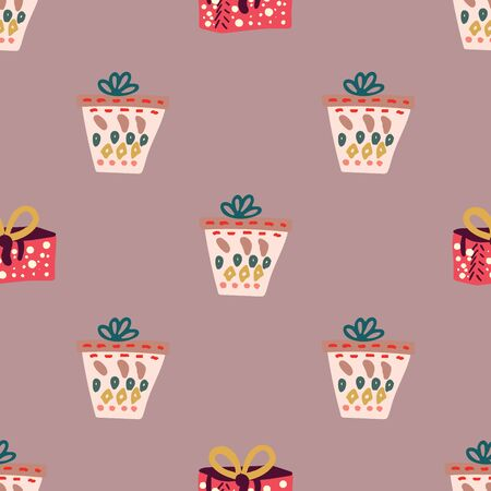 Giant Christmas gifts seamless pattern on dusty pink background. Flat style illustration. Greeting card, poster, design element.
