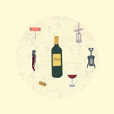 Wine cork screw, bottle opener equipment. Circle border for text. Poster, banner, print, textile design element.  illustration.