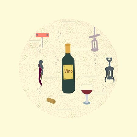 Wine cork screw, bottle opener equipment. Circle border for text. Poster, banner, print, textile design element.  illustration. Archivio Fotografico - 127403120