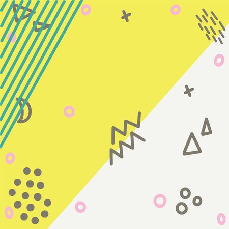 Illustration of pop art retro style background with summer pink turquoise colours. Brown and green shapes on yellow background Stock Illustratie