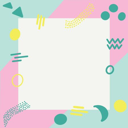 Illustration of pop art retro style background with summer pink turquoise colours. White square frame in centre