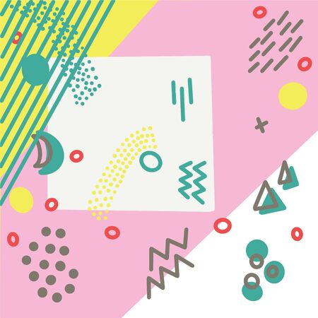 Illustration with pop art retro style colours. Pink, turquoise and yellow colours background for your design. Illustration