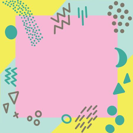 Illustration of pop art retro style background. Turquoise and yellow geometric shapes background. Pink square frame in centre.
