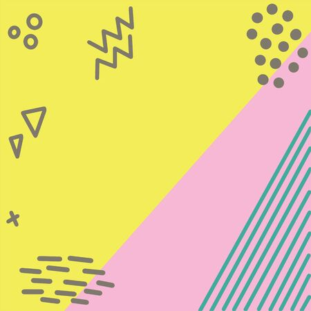 Illustration of pop art retro style background with summer pink turquoise colours. Yellow and pink background with geometric shapes Illustration