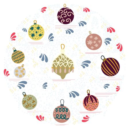 Circle shape with Christmas tree decorations on white background. Flat style illustration. Greeting card, poster, design element.