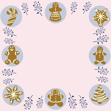 Gingerbread biscuits frame for text on pale pink background. Space for text. Flat style illustration. Greeting card, poster, design element.