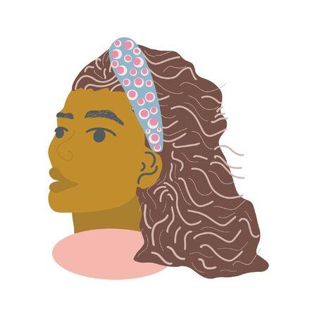 Beautiful black women with headband. White background. Jewelry woman. Illustration