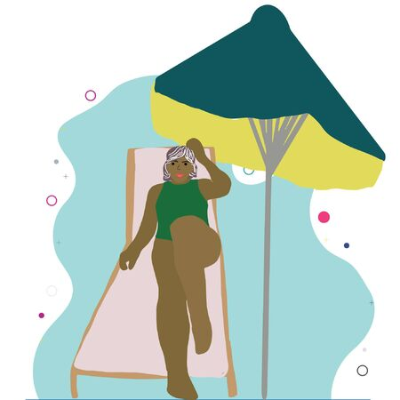 Horizontal illustration of black woman on chaise lounge under parasol umbrella. Stock Illustratie