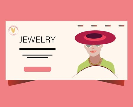 Landing page with Beautiful woman wearing hat, sunglasses and trendy jewelry. Jewelry model background. Flat Design. Illustration