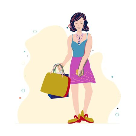 Young girl with shopping bags wearing trendy multiple necklaces with pearls. Jewellery models. Illustration