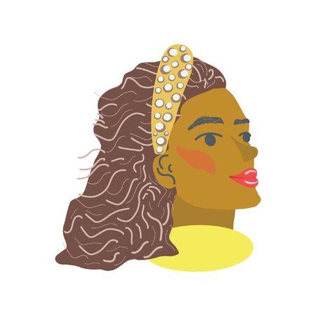 Belles femmes noires avec bandeau. Fond blanc. Bijoux femme. Vecteurs