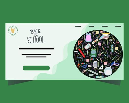 Back to school concept, flat design. Template for banner, poster, web. Landing page with stationery in round shape. Illustration