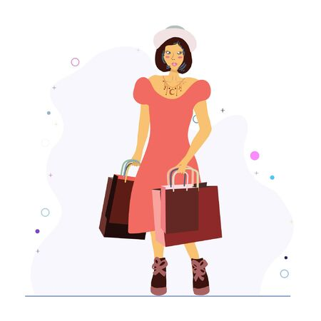 Fashion girl with shopping bags. Wearing trendy necklace with stars. Jewellery models.