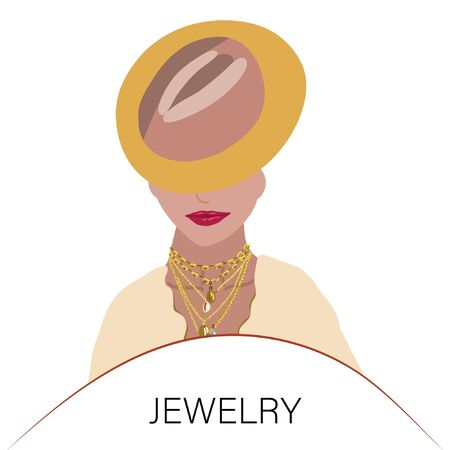 Beautiful young woman with bright lips wearing hat and trendy jewelry. Note Jewelry. Jewelry models.