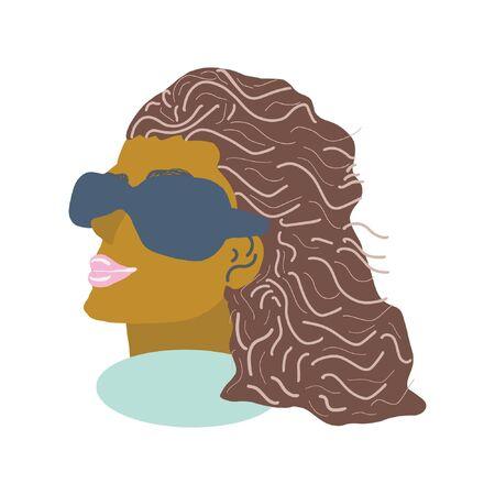Beautiful black women wearing big sunglasses. White background. Jewelry woman.