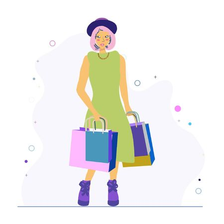 Young woman with shopping bags wearing trendy shell necklace. Jewellery models. Illustration
