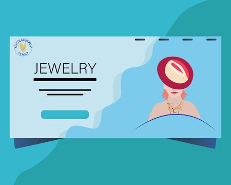 Landing page with Beautiful woman with bright lips wearing trendy jewelry. Jewelry model background. Flat Design.