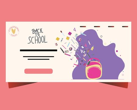 Back to school concept, flat design. Template for banner, poster, web. Landing page with backpack and paints, crayons, pencils, school supplies flying inside. Stock Illustratie