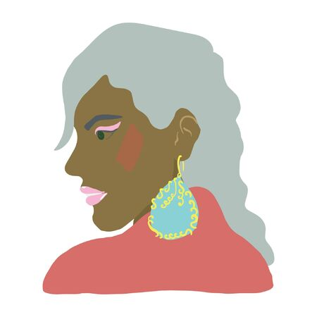Beautiful black woman with big turquoise earrings. Jewelry models. Vector