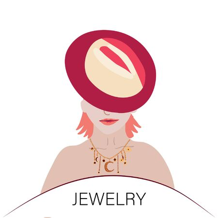 Beautiful woman with bright lips wearing hat and trendy jewelry. note Jewelry. Stock Illustratie