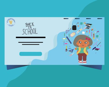 Back to school concept, flat design. Template for banner, poster, web. Landing page with school girl and school supplies. Illustration