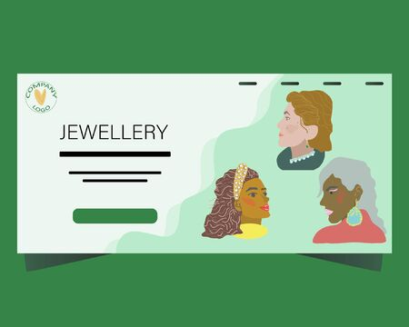 Landing page template with beautiful jewellery black models. Jewelry model background. Flat Design. vector