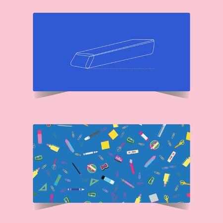Back to school concept, flat design. Education supplies background. Backpack, paints, crayons, pencils and school supplies on colorful background.