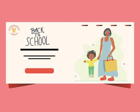 Landing page template with mother and daughter walking to school. Back to school concept. Illustration