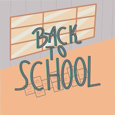 School hallway and big window on background. Hand lettering back to school.