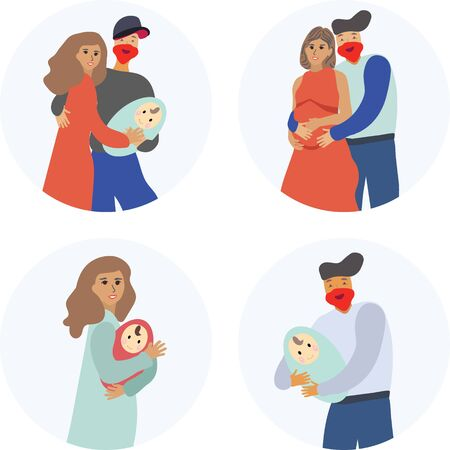 Pregnancy and parenthood concept illustrations. LGBT parenting. Scenes with pregnant woman, woman holding a newborn baby, man holding a newborn baby, couple expecting couple, parents with a baby. Adoption. App, website or Web Page.  illustration. Stock Illustratie