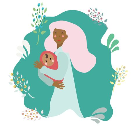 Pregnancy and parenthood concept illustrations. LGBT parenting. Woman holding a newborn baby, parents with a baby. Adoption. App, website or Web Page.  illustration. Illustration
