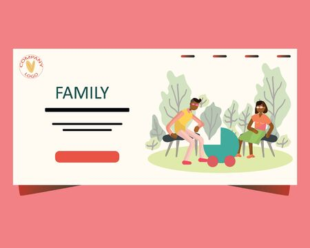 Landing page, banner, poster template with family and newborn pram in the park. Family activities. Pregnancy and parenthood concept illustrations. Adoption. App, website or Web Page. illustration. Illustration
